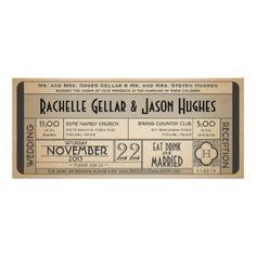 Vintage Wedding Ticket Invitation. Customize your own 1940s black and white era wedding announcement