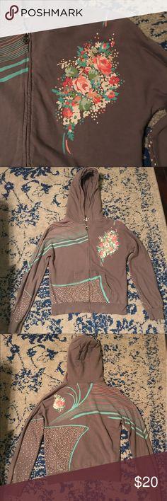 Soundgirl 100% Cotton Hoodie Gray Floral Retro In perfect condition except missing hoodie drawstring.  Worn once.  Sound Girl 100% Cotton Hoodie Gray Floral Retro Soundgirl Tops Sweatshirts & Hoodies