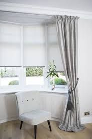 Bay Window Bedroom Curtain Roman Shades And Curtain Ideas Creating Beautiful . Bay Window Curtains Made Curtains London Curtain Ideas. Bay Window Decorations With Classic Large Wingback Chair . Home and Family Bay Window Bedroom, Bay Window Blinds, Bay Window Living Room, Bedroom Drapes, Bedroom Windows, Curtains With Blinds, My Living Room, Home Decor Bedroom, Bay Window Decor
