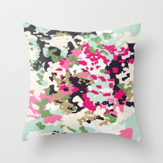 Finch - Modern abstract painting in free style modern colors navy, mint, blush, pink, white Throw Pillow by CharlotteWinter - $20.00
