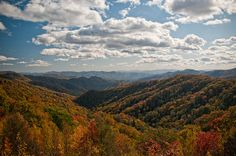 Great Smoky Mountains – Tennessee and North Carolina    Popular hikes in the Great Smoky Mountains:  1. Mount Cammerer - This 12 mile round trip hikes offers perhaps the best view in the entire park.  2. Chimney Tops - This 4 mile roundtrip hike offers views that rival those at the top of Mount Cammerer.   3. Mount Sterling (via Baxter Creek) - at 12 miles round-trip, this is one of the most challenging in the park (a 4200 foot climb). The views at the end are amazing.