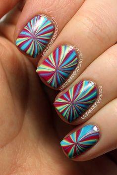 PackAPunchPolish: Star Burst Water Marble Nail Art