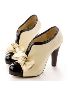 Ivory and Black Heels with a Bow!