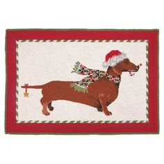 Candy Cane Dachshund Rug ... Know someone who would love this!