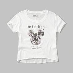 girls disney graphic tee | wear your favorite cartoon character, featuring asymmetrical hem and undone sleeves | abercrombiekids.com