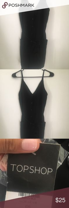 Topshop button romper size 2 (US) Black romper with V-neck and back romper with pockets Topshop Other