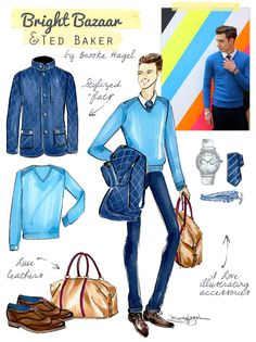 Bright Bazaar Menswear Sketches of Ted Baker AW14 by Brooke Hagel featuring @will_uk