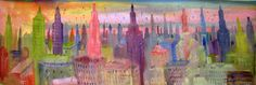 Panoramica de la ciudad, Painting Cityscape Artwork - Fine Art by Diego Manuel