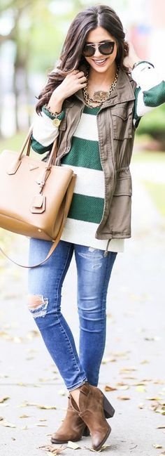 Pair a vest with stripes for cute and casual layers.