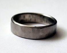 Rustic Titanium ring Forged Hammered Mens Wedding Band Titanium Wedding Band Mens Ring Made by Blacksmith wedding bands Hibiscus, Titanium Rings, Titanium Wedding Rings, Stainless Steel Rings, Wedding Men, Wedding Dreams, Mens Rustic Wedding Bands, Wedding Suits, Silver Man