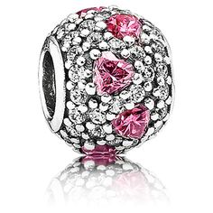 Dazzle her with the Shimmering Heart charm. Completely covered in sparkling CZs and beautiful pink hearts. #Pandora #Jewelry $70