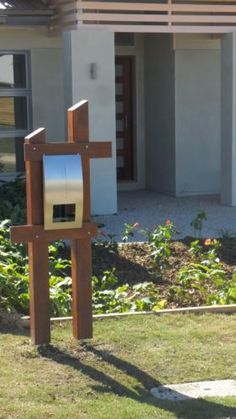Kwila-Merbau-Timber-and-Stainless-Steel-Letterbox Mailbox Ideas, Fence Ideas, Letter Boxes, Mail Boxes, Post Box, Garden Projects, Garden Ideas, Fencing, Basement Ideas