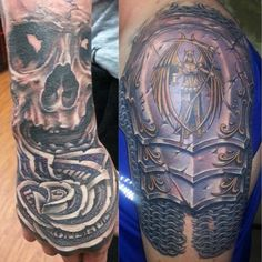Hand tattoo of money rose and skull. Shoulder armor tattoo