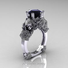 Love and Sorrow 14K White Gold 3.0 Ct Black Diamond Skull and Rose Solitaire Engagement Ring R713-14KWGSBDn  by Art Masters Jewelry evokes character and elegance making it an outstanding engagement ring. £1,515.52