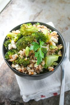 roasted broccoli and farro salad with feta [ inthiskitchen.com ] - another easy weeknight recipe: farro and roasted broccoli salad with feta. how could you go wrong with grains, roasted veggies, and feta? also, vegetarian!
