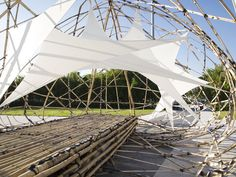 """pulse pavilion bamboo sculpture by the university of st. joseph """"designed and built by university of st. joseph in macau by third-year undergraduate architecture students, 'the pulse pavilion' is. Backyard Canopy, Garden Canopy, Canopy Outdoor, Canopy Tent, Backyard Pavilion, Outdoor Pavilion, Pavilion Wedding, Window Canopy, Beach Canopy"""