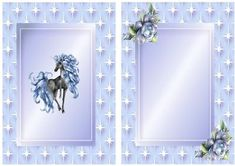 unicorn in starlight blue with roses A5 Insert on Craftsuprint - Add To Basket!