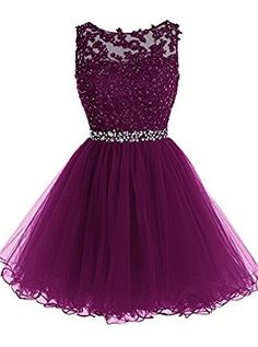 Amazon.com: Tideclothes Short Beaded Prom Dress Tulle Applique Evening Dress: Clothing