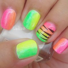 sparkle nails One Nail To Rule Them All nails Wild Neon Nails - Nail Art Gallery by NAILS Magazine Neon Nail Art, Neon Nails, Cute Nail Art, Zebra Nails, Nail Designs 2014, Neon Nail Designs, Nails Design, Great Nails, Love Nails
