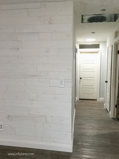 LOVING our Stikwood Hamptons shiplap! This peel and stick shiplap was a breeze to install. Also adore our remodel on adding height to our ceilings! Peel And Stick Shiplap, Peel And Stick Floor, Flooring On Walls, Hallway Flooring, Plank Walls, Flooring Ideas, Home Depot, Stick On Wood Wall, Shiplap Ceiling