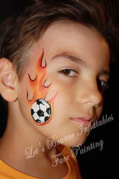 Soccer Ball with Flames Boy's Face Painting by Let's Bounce Inflatables www.letsbounceinflatables.ca