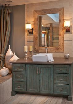 rustic shabby chic bathroom - Google Search                                                                                                                                                      More Rustic Bathroom Mirrors, Painting Bathroom Vanities, Rustic Bathroom Makeover, Painted Bathroom Cabinets, Rustic Chic Bathrooms, Rustic Bathroom Shower, Rustic Bathroom Cabinet, Rustic Chic Kitchen, Shabby Chic Kitchen Cabinets