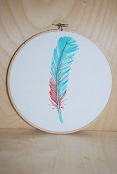 Feather . Embroidery Hoop Art . Ready To ShipOut of Stock • $20 Etsy