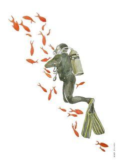 scuba diving in red sea watercolor drawing by ArtandSpirits, €30.00 #scubadivingart
