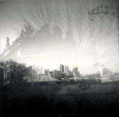 """Minneapolis Sky Line + UMN Campus"" Minneapolis, MN - 2010   * Black and White *  Holga Film Camera *  Deb Carneol Original"
