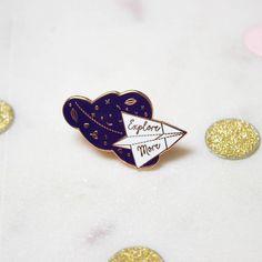 Explorer Origami avion broche en or Rose émail dur Broche Pin