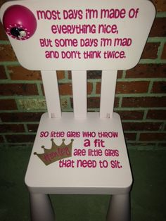 """Personalized Time out chair with real working timer for your little one. Each chair will have this special quote """"Time out to think out about the things you do,"""
