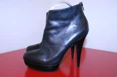 ALDO Shoes 39 US 7 Black Leather Round Toe Zippered Ankle Platform Bootie Heels #ALDO #AnkleBoots