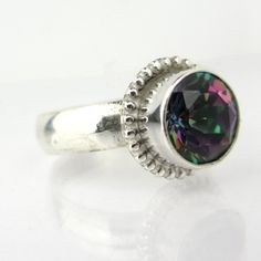Rainbow Mystic Topaz Sterling Silver Ring.
