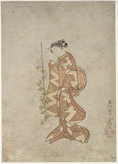 Modern Representation of the Poetess Kaga no Chiyo  Suzuki Harunobu  (Japanese, 1725–1770)  Period: Edo period (1615–1868) Date: ca. 1765 Culture: Japan Medium: Polychrome woodblock print; ink and color on paper