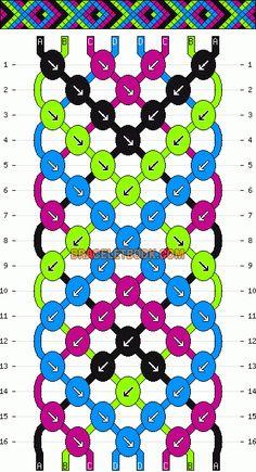 Friendship bracelet pattern 4782 by loulou22 #friendship #bracelet #wristband #craft #handmade #DIY #braceletbook #howto #instructions #pattern #tutorial #doityourself #chevron #fish #diamonds