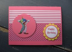 Handmade Girls Clown Birthday Card
