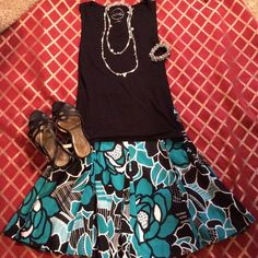 INC Teal Skirt Beautiful skirt only worn once. Excellent condition. Non smoking home. No trades. INC International Concepts Skirts Midi