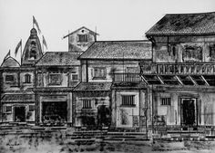Ahmedabad city outskirts has always been famous for the old houses that were built during the medieval era. The sketch depicts the old architectural buildings with comman walls and multi- storyed houses designed with traditional window and doors.