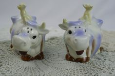 Really cute cows...  Vintage Salt & Pepper Violet Cows and Cats by CuriousDiscoveries, $10.00