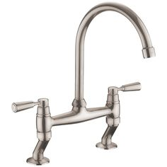 Rangemaster Traditional Bridge Brushed Kitchen Sink Mixer Tap TBL3B-/BF Kitchen Mixer Taps, Sink Mixer Taps, Farmhouse Sink Kitchen, Shaker Kitchen, Brass Tap, Cleaning Spray, Bowl Sink