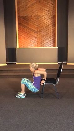 All you need for this awesome workout is a chair and some space! This series will give you a great leg workout, arm workout, and core workout all at once! Plus it really gets you heart pumping for a great cardio workout. Great Leg Workouts, Toning Workouts, At Home Workouts, Dumbbell Workout, Core Exercises For Beginners, Workout For Beginners, Cardio Training, Strength Training, Chair Exercises