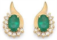14k Yellow Gold Emeralds & Diamonds Stud Earrings