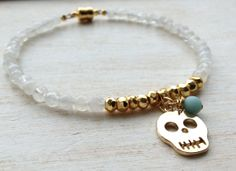 Moonstone and Gold Pyrite Beaded Bracelet Gold by LoveandLulu, $40.00
