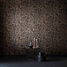 Graham & Brown - Marbled Effect Charcoal & Rose Gold Metallic Sheen…
