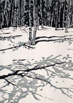 """""""Aspens"""" linocut by Lisa VanMeter. http://www.lisavanmeter.com/ Tags: Linocut, Cut, Print, Linoleum, Lino, Carving, Block, Woodcut, Helen Elstone, Trees, Snow."""