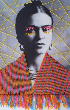 An embroidered photograph of Frida Kahlo by Mexican artist Victoria Villasana Lace agnita est verus, Textiles Sketchbook, Gcse Art Sketchbook, Victoria, Painting On Photographs, Mexican Artists, Arte Pop, Textile Artists, Embroidery Art, Illustrations