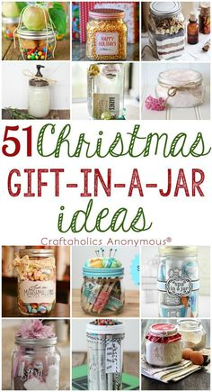 51 Christmas Gift in a Jar Ideas || So many awesome Mason Jar gift ideas in one place! Includes DIY gift ideas for the home or office and easy crafts you can make to give as gifts.