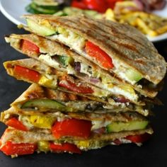 Grilled Vegetable Quesadillas with Goat Cheese and Pesto. A healthy meal or creative appetizer!