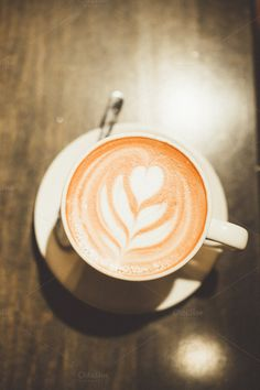 Latte by Sean Berrigan Photography on Creative Market White Cups, Latte Art, Cup And Saucer, Drinks, Creative, Photography, Food, Drinking, Beverages