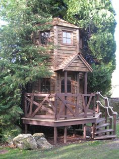 "This crooked Shanty Treehouse from North London's High Life Treehouses Ltd. has a playful, storybook look (not unlike the Berenstain Bears treehouse). While the firm also makes ""hobbit holes,"" wooden play structures and treehouses for adults, this two-level treehouse is the perfect escape for kids."